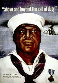 """Dorie """"Dorie"""" Miller.   He was a cook on the USS West Virginia at Pearl Harbor. When the Japanese attacked he began carrying the wounded to safety under heavy gun fire, including the captain (who refused his aid and died at his post). He then manned a Browning .50 caliber anti-aircraft machine gun, though he had no training, and began shooting at the Japanese bombers. He was the first black man to be awarded the Navy Cross. He was never promoted beyond the mess hall, and died in battle in…"""