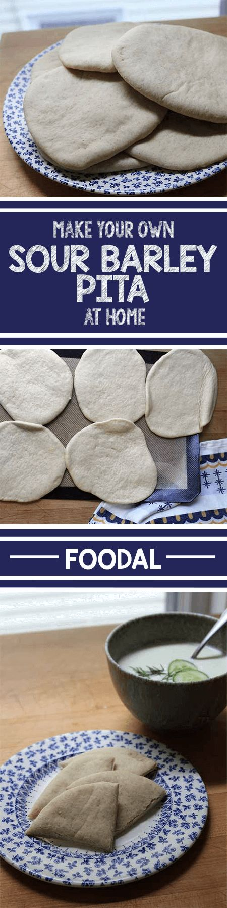 Make your own fresh pita in your own home oven. This simple recipe, made with a combination of wheat and barley flours, is soft and full of flavor. Eat it on its own, use it as a wrap for sandwiches, or even as the crust for homemade mini pizzas. It's a great recipe for novice bakers, and this post offers a helpful introduction to several baking techniques. http://foodal.com/recipes/breads/sour-barley-pita/