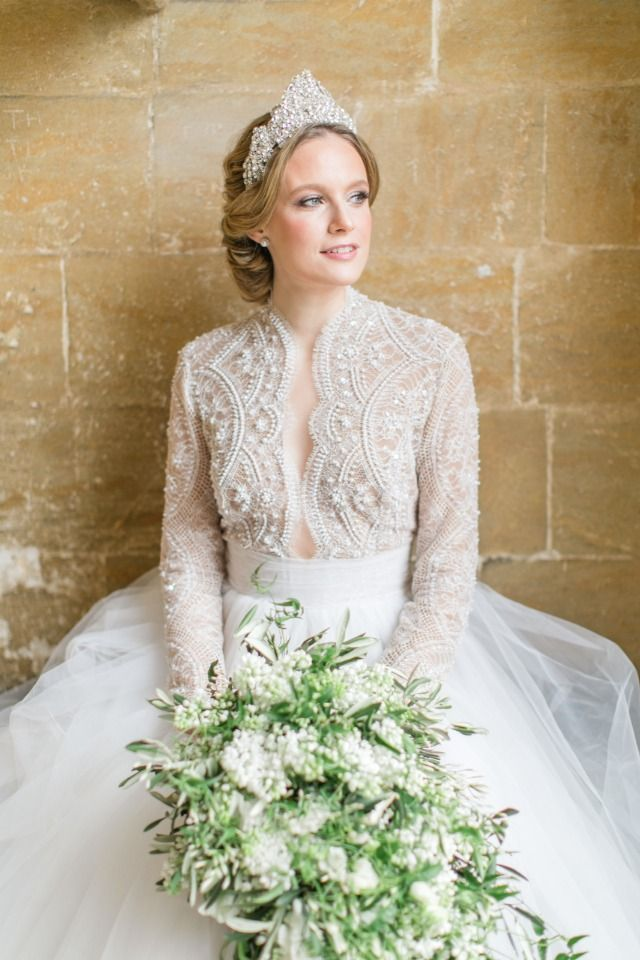 beaded wedding top and tulle skirt and beaded head piece