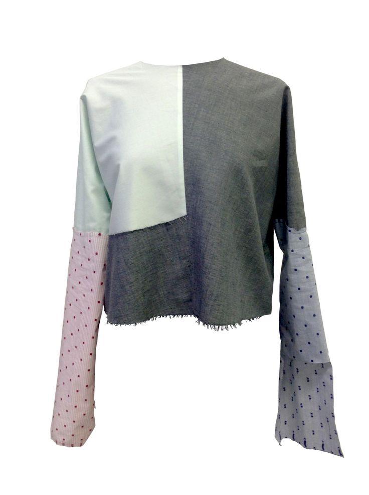 Minimalist Patchwork Top Blouse Lola Darling Cotton Light Green, Grey, Raw cut, Long Sleeve, Exclusive Luxury Spring Handmade in Italy di loladarlingirl su Etsy