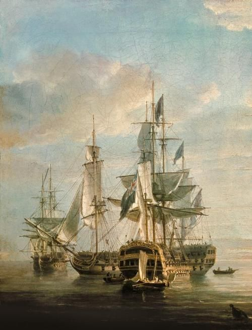 Nicholas Pocock - Nelson's Flagships at Anchor (1807)