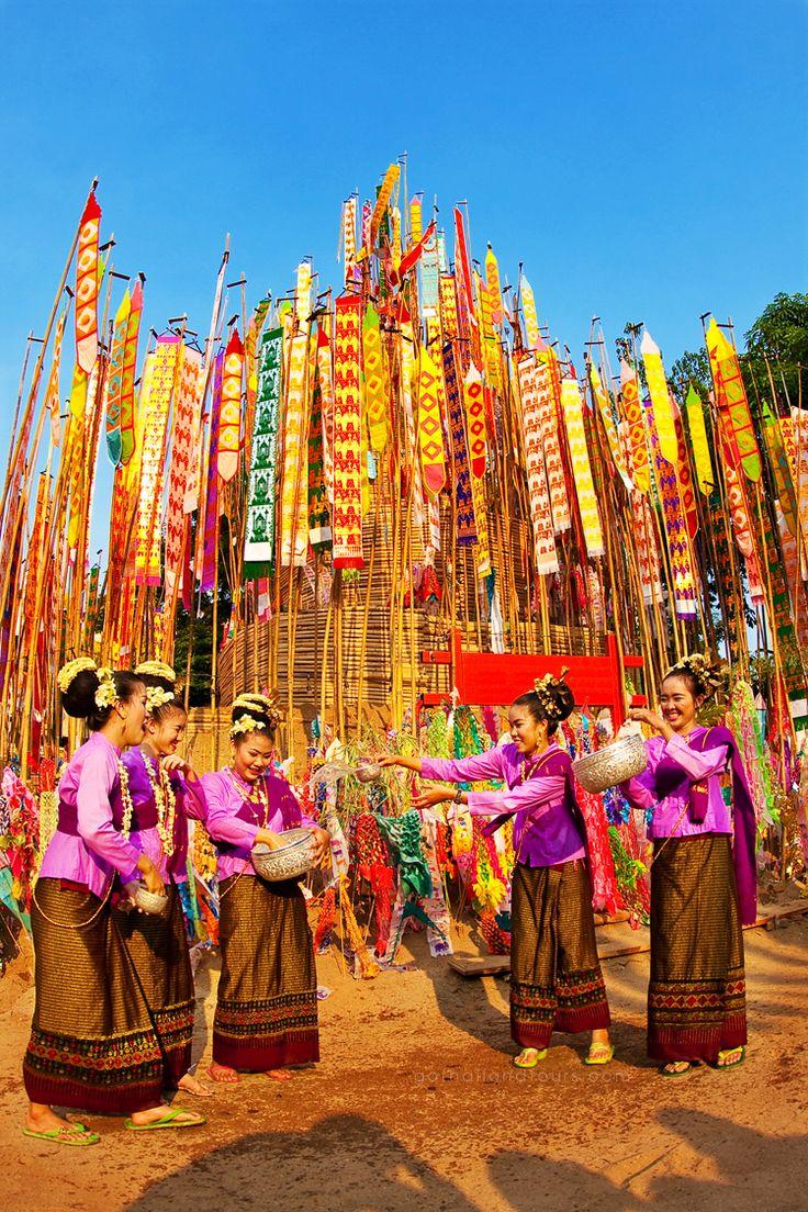 The beautiful Thai women celebrate Songkran Festival (Water Festival) in Chiangmai - Thailand on Thai New Year