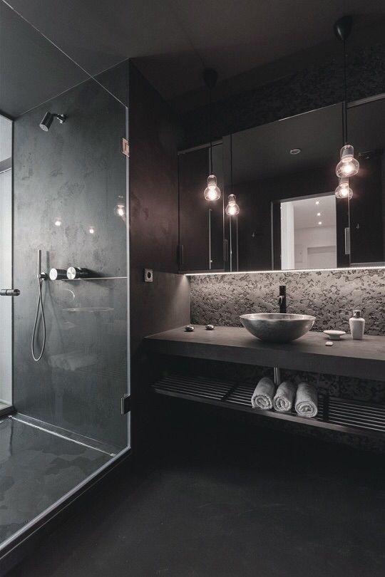 cool tone lighting and dark bathroom love - Best Design Bathroom
