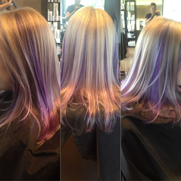 Lavender peekaboo | Hair | Hair, Purple highlights blonde ...
