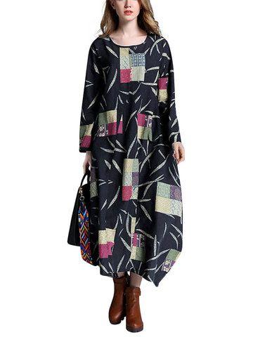 Gracila Vintage Women Long Sleeve V Neck Irregular Maxi Dress Shopping Online - NewChic Mobile.