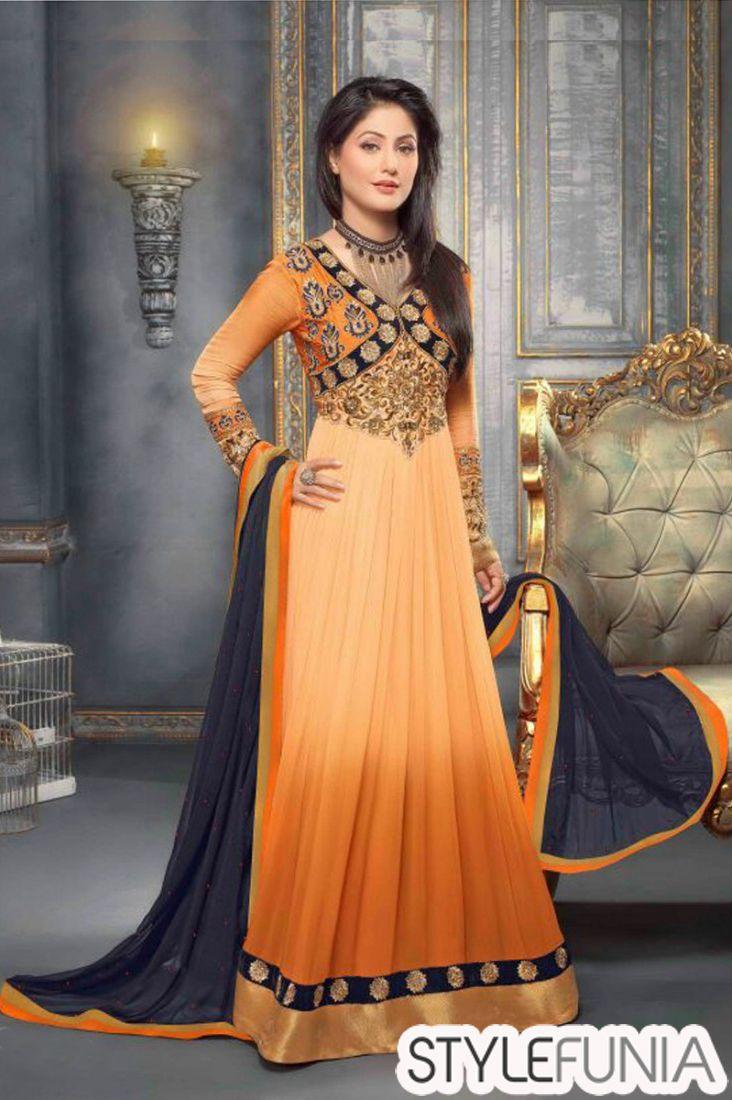 Hina Khan Dark Orange Floor Length Anarkali Suit @1699