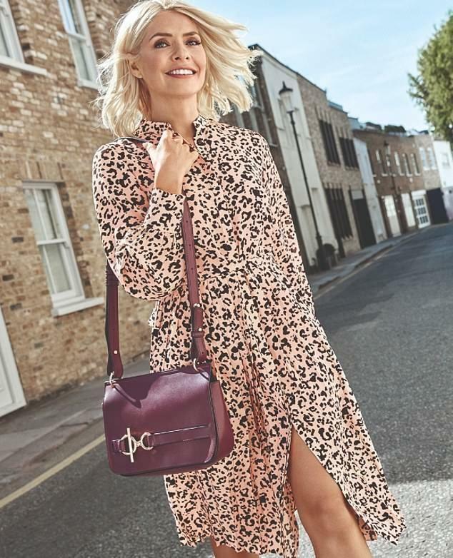 M S Holly Willoughby Leopard Animal Print Pleated Midi Shirt Dress Uk 22 24 New Fashion Clothing Pink Leopard Print Dress Print Dress Winter Shirt Dresses Uk