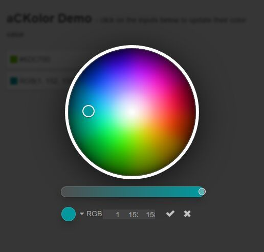 aCKolor is a color picker for AngularJS that allows you to select a color from a fullscreen color picker overlay.