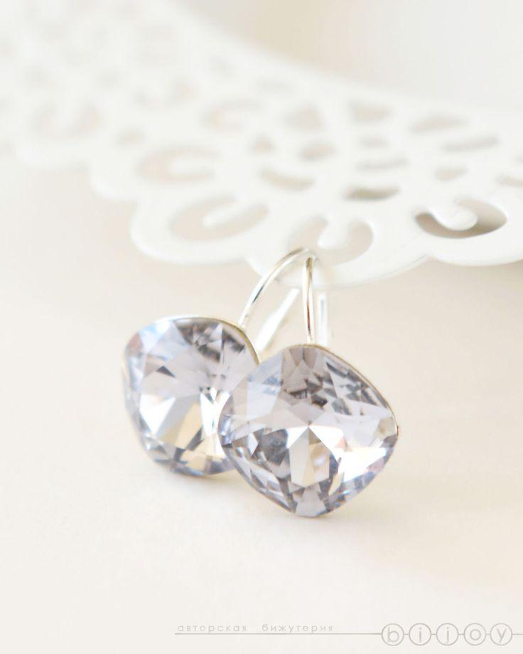 Купить Серьги серебро 925 пробы и кристаллы Сваровски «Сиреневая дымка» - сиреневый, сиреневые серьги