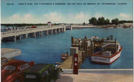 Vintage florida postcard fishing at john 39 s pass unused for St petersburg fishing