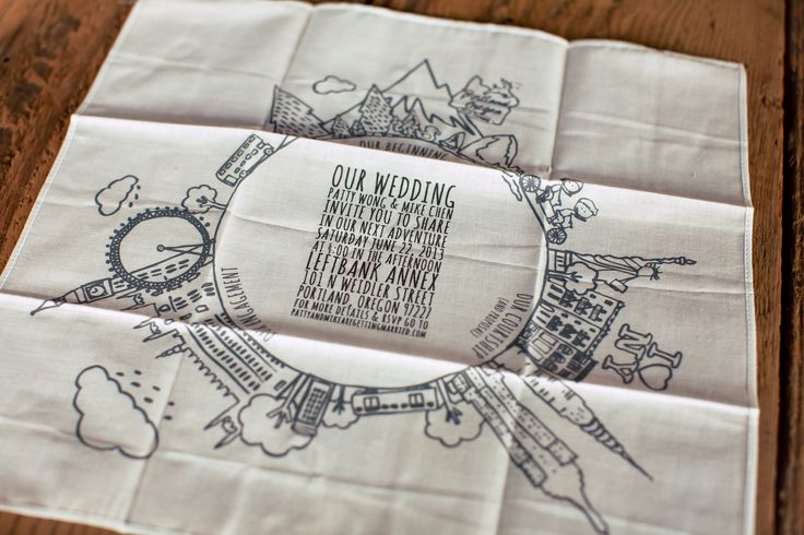 Invite your guests to your special day in a way they'll never forget + with something to dry their happy tears! We adore this purposeful, useful, but trendy + chic wedding invitation printed on a handkerchief! ::Patty + Mike's world traveler wedding at the Leftbank Annex in Portland, Oregon:: hipster wedding, stationary, eco-friendly, outline drawing, creative touch