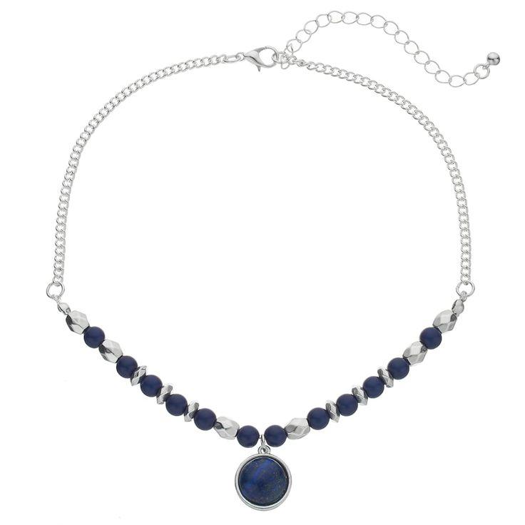 Blue Simulated Lapis Lazuli Pendant Choker Necklace, Women's, Navy