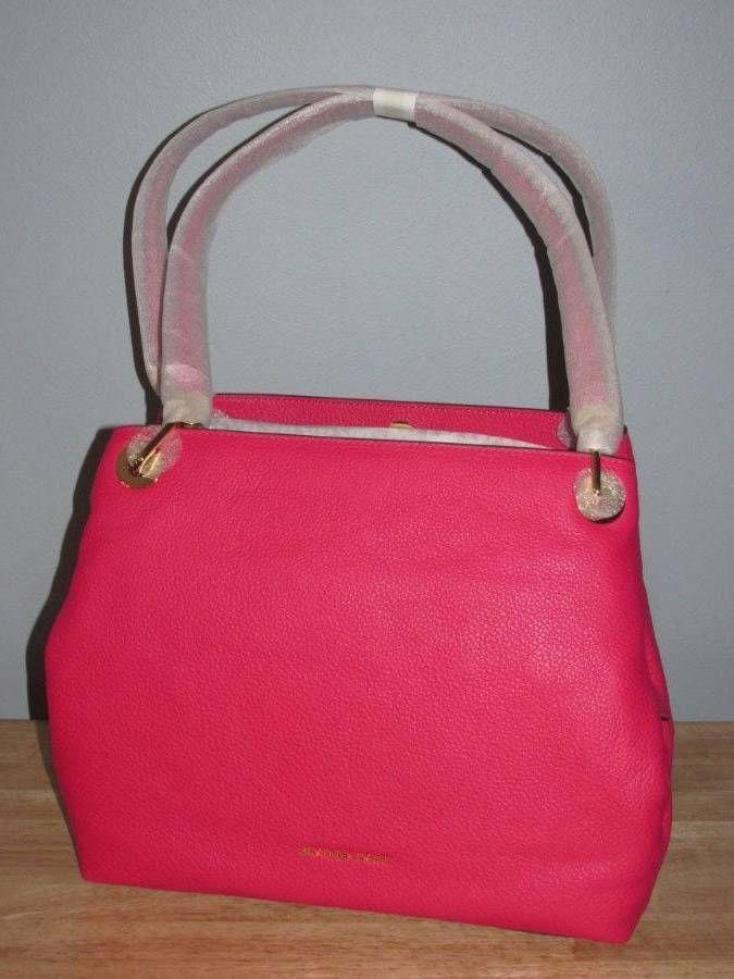 d9b32334e6a250 Michael Kors Raven Large Pebbled Leather Shoulder Bag Tote Ultra Pink Gold  NWT