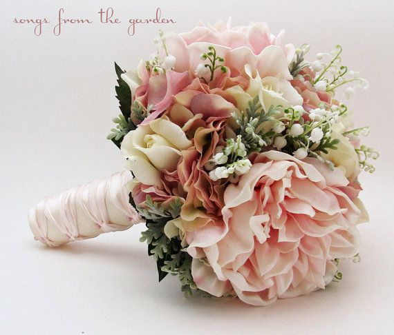 Bridal or Bridesmaid Wedding Bouquet Lily of the Valley Peonies Roses Hydrangea Pink White – Add a Groom's Boutonniere – Choose Your Ribbon