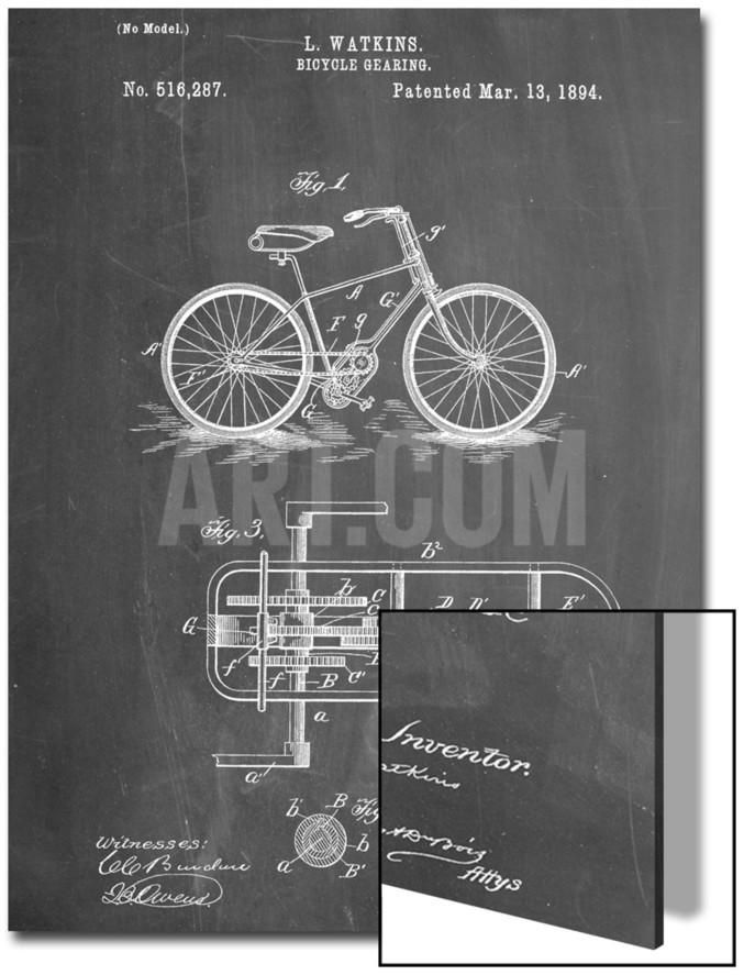 Bicycle Gearing Patent Art on Acrylic at Art.com