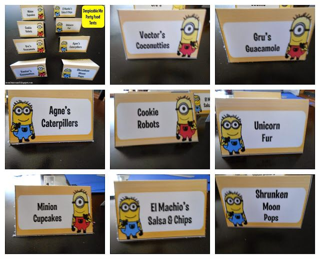 Cute food label ideas for a Despicable Me/ Minions birthday party!