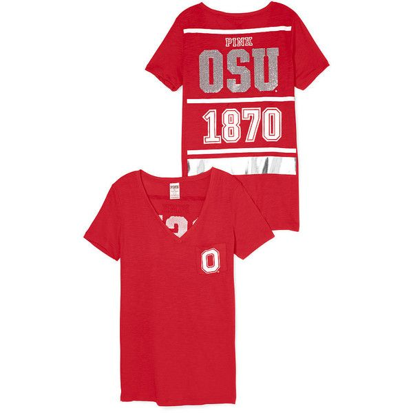 PINK Ohio State University Bling V-Neck Pocket Tee ($35) ❤ liked on Polyvore featuring tops, t-shirts, graphic v neck t shirts, red t shirt, v neck pocket tee, pink tee and v neck pocket t shirt