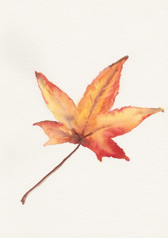 Maple leaf Original watercolor painting still by FrancinaMaria, $35.00