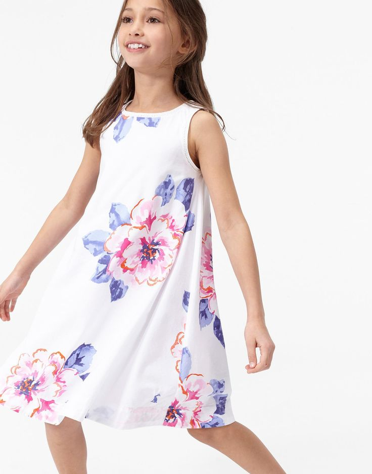 Bunty Bright White Floral Woven Dress