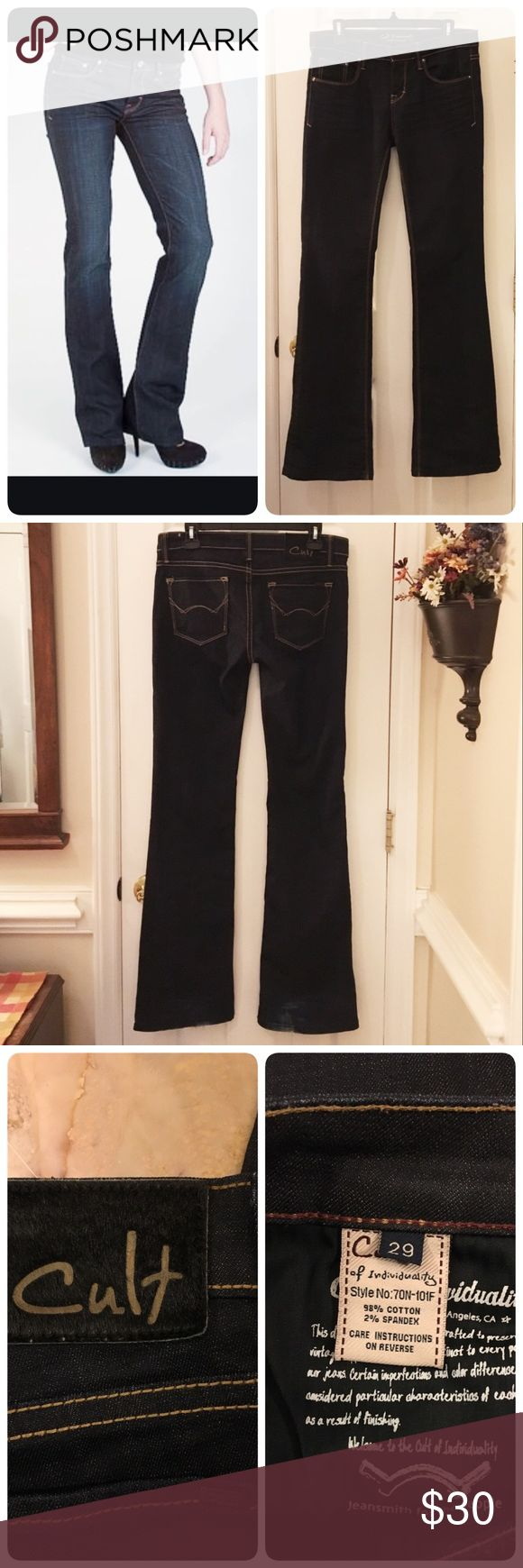 "Cult of Individuality Vixen Curvy jeans Cult of Individuality Vixen Curvy jeans, size 29. Dark wash, bootcut. Inseam is 33, 8"" rise, waist measures 16"". Excellent condition with some wear to bottom of legs as shown, adds character. Cult of Individuality Jeans Boot Cut"
