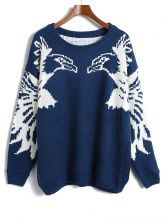 Navy Batwing Sleeve Eagle Pattern Sweater