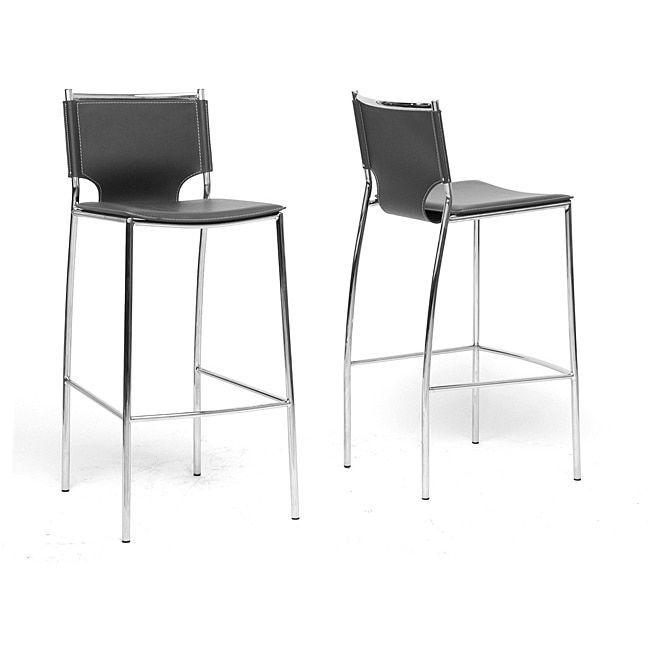 Modern Black Faux Leather Bar Stool by Baxton Studio (Bar Stool-Black) (Chrome)