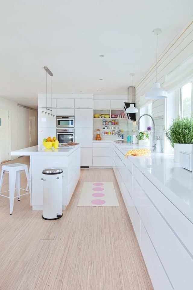 White glossy kitchen and light wooden floor