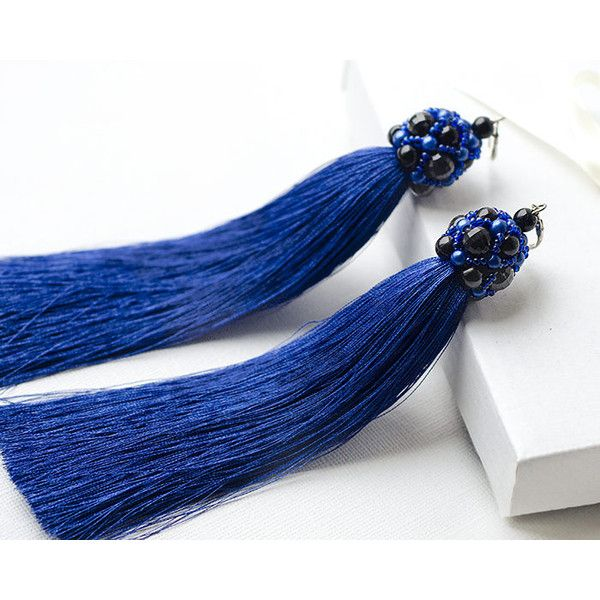 Extralong Fringe Earrings Trendy Jewelry Royal Blue Earrings Long... ($35) ❤ liked on Polyvore featuring jewelry, earrings, royal blue earrings, navy tassel earrings, evening earrings, navy earrings and tassel earrings