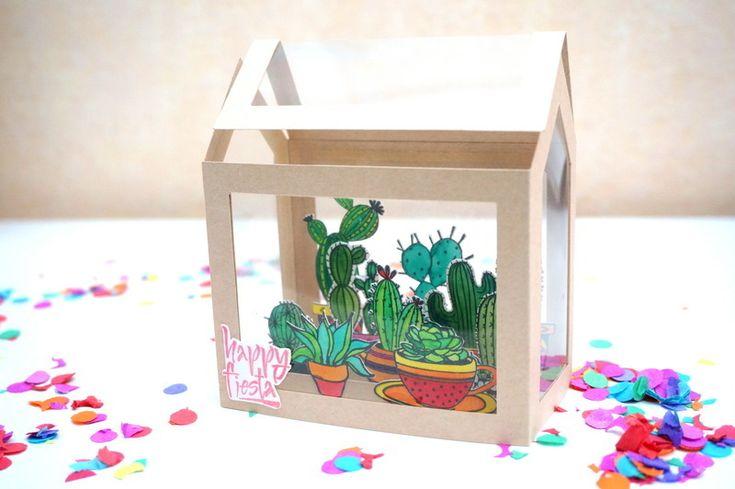"""Carte pop-up """"mini-serre à cactus"""""""