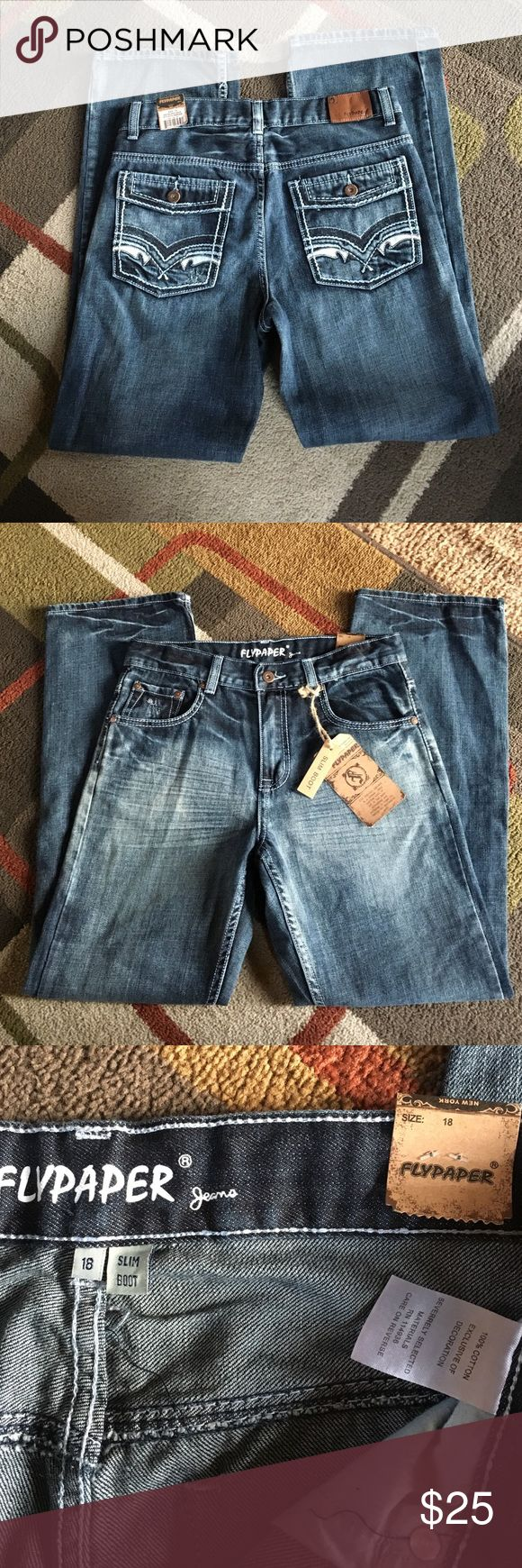 "Boy's Flypaper jeans🍂 NWT🍂 Boy's size 18 🍂slim boot cut🍂 material 100% cotton🍂inseam 30"" Flypaper jeans Bottoms Jeans"
