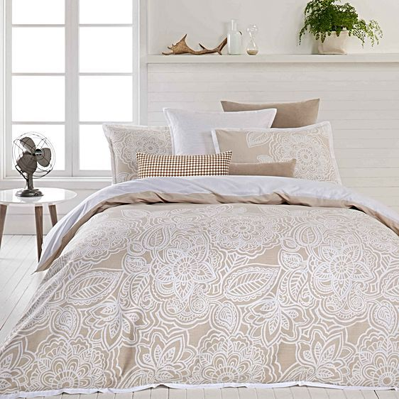 Mecca Quilt Cover Set, Natural by Designers Choice