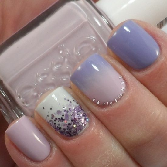 Different lavender nails from solid, ombre, and glitter.