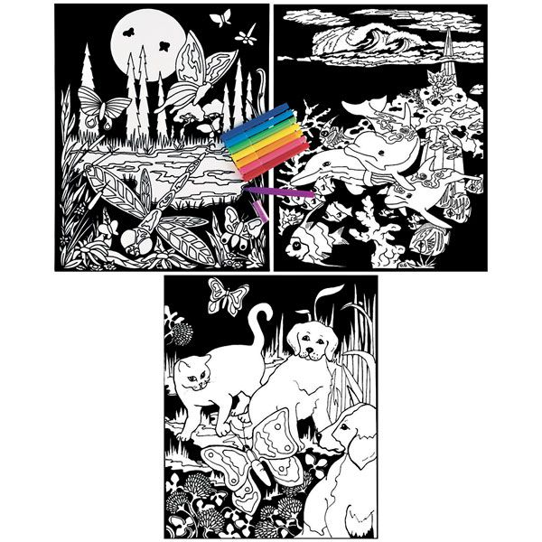 Color your own velvet posters--my best friend had a bunch of these framed on her wall when we were kids.