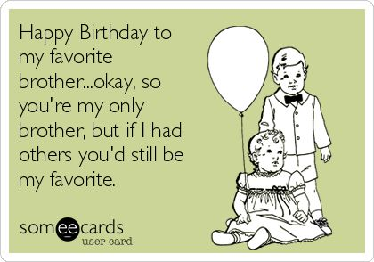Happy Birthday To My Favorite Brother...okay, So You're My Only Brother, But If I Had Others You'd Still Be My Favorite. Love.... Lisa Bug | Birthday Ecard