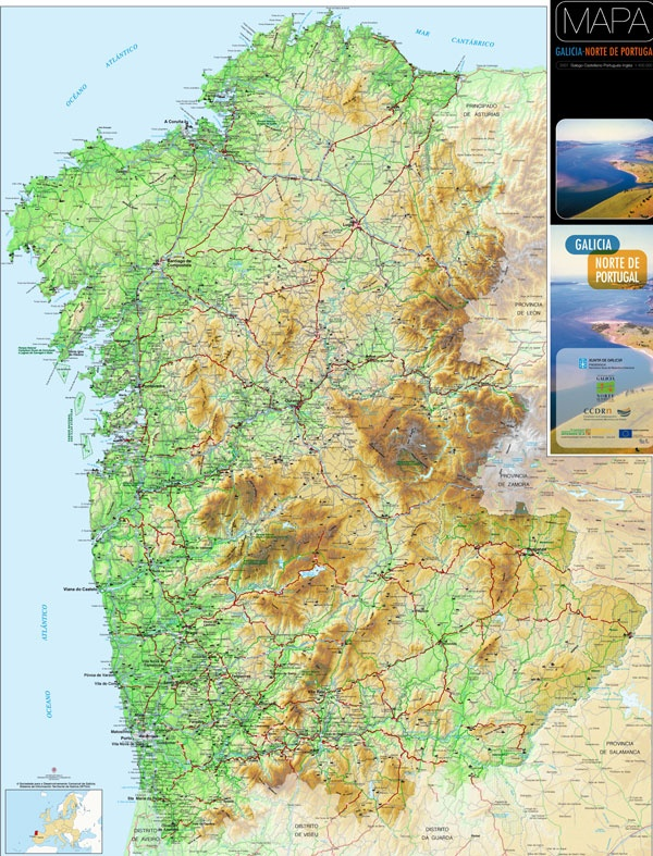 Eurorregión Galicia Norte De Portugal Mapas E Globos Pinterest - Portugal norte map