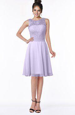 Pastel Lilac Glamorous A-line Scoop Zip up Chiffon Sash Bridesmaid Dresses