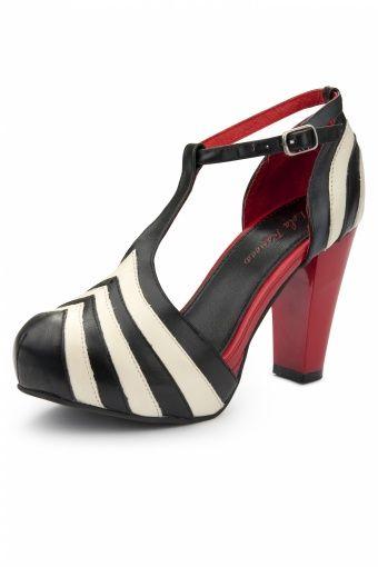 Lola Ramona - 50s Angie Black White T-Strap plateau pumps