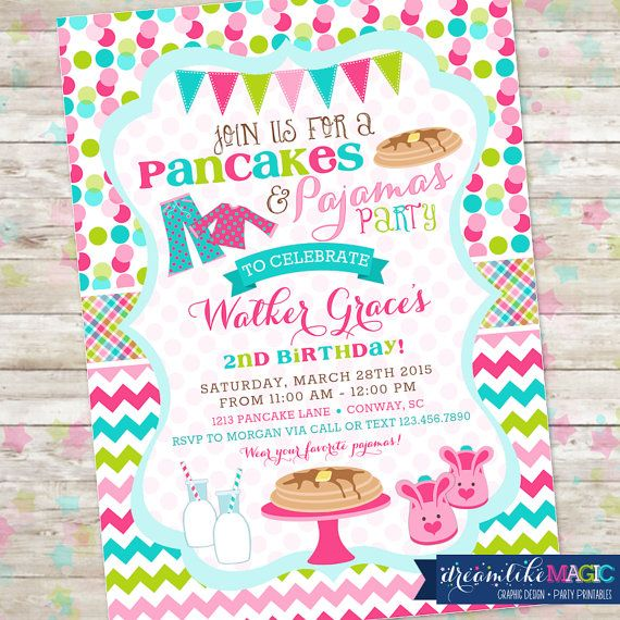 Pancakes and Pajamas Party, Pancakes PJS, Birthday Party Invite, Printable Invitation, Girl Birthday Party, Sleepover, Pancake Party, DIY