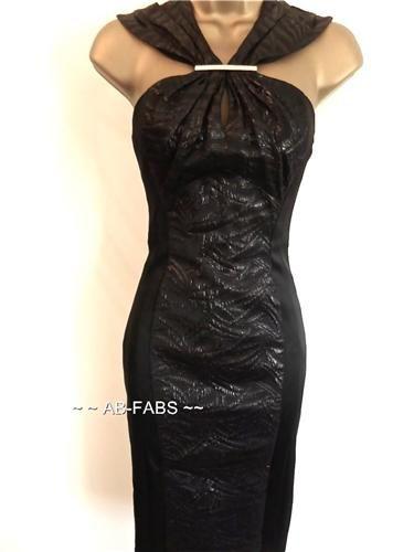 Karen Millen Black Metallic Ruched Jaquard Dress - Karen Millen Dresses UK Ab-Fabs Designer Boutique