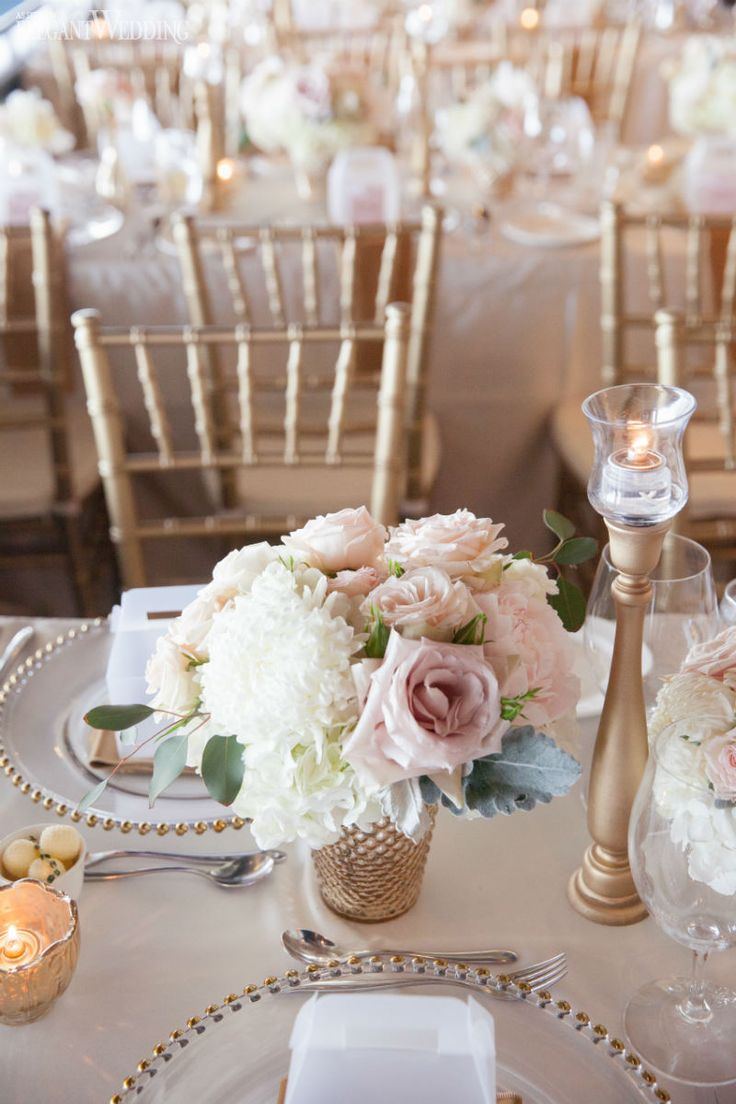 Soft Blush Pink And Gold Wedding Flowers And Decor, Wedding Table Setting,  Place Setting