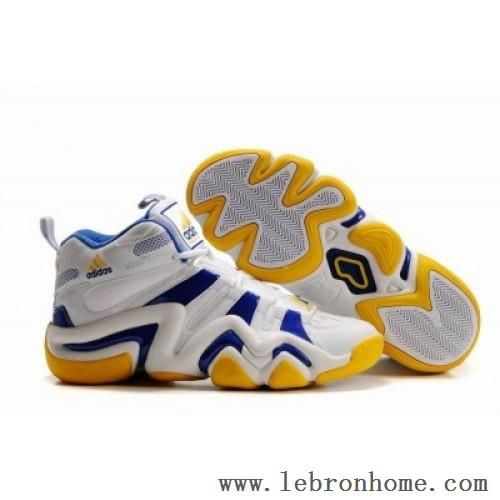 Adidas Crazy 8 Mens Basketball Shoes in white/blue-yellow