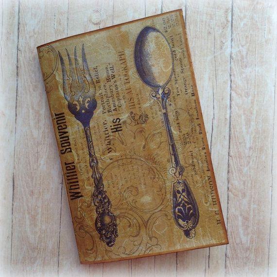 Recipe Journal. Spoon & Fork. Junk by AStoryFullOfJournals on Etsy