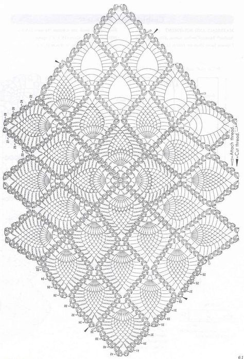 143 Free Diagrams For Crochet Pineapple Stitches Doilies