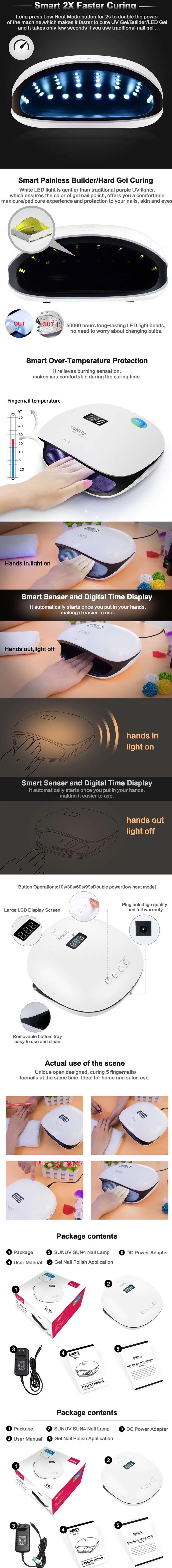 SUNUV SUN4 Professional Manicure 48W Nail Lamp Curing Tool  -  EU PLUG  WHITE  - Manicura profesional -lámpara para uñas de gel - nail art - #nailart