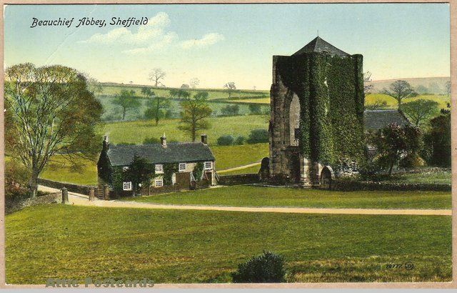 Vintage postcard of Beauchief Abbey in Sheffield, Yorkshire, England.