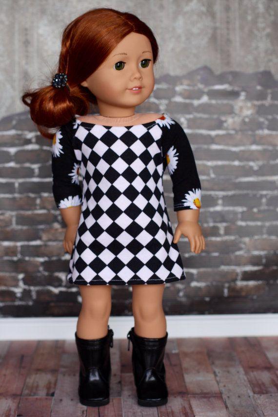 18 Zoll Mädchen Puppe Kleidung Black White von Closet4Chloe