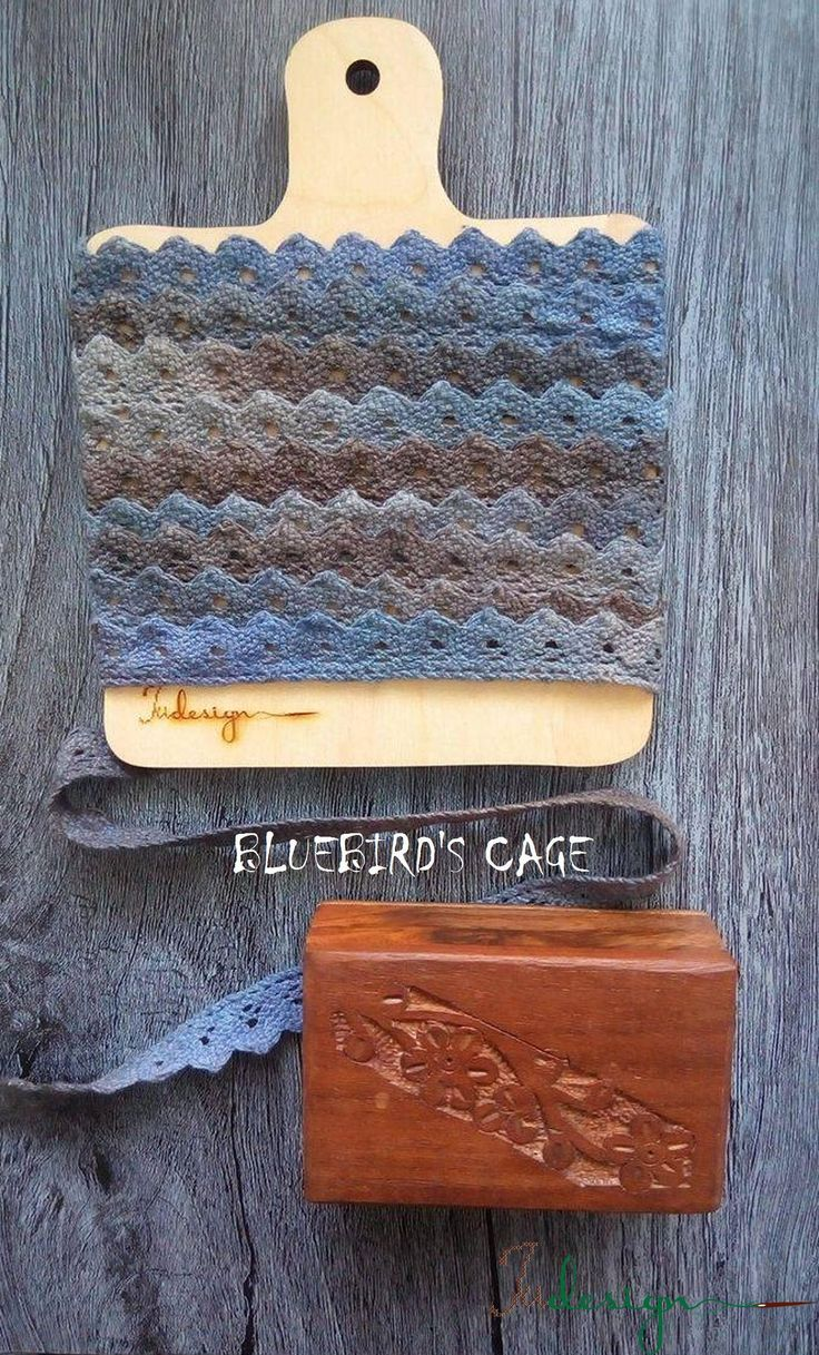 Hand dyed cotton lace - BLUEBIRD'S CAGE - 13mm wide 1,1yard by xJudesign on Etsy