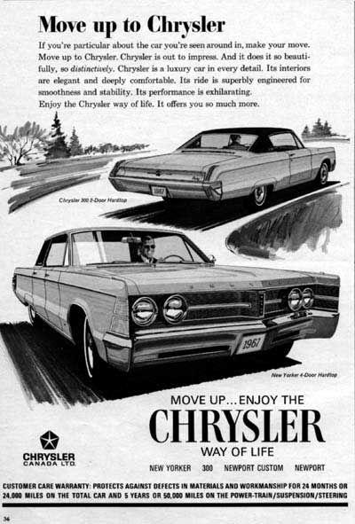1967 Chrysler 300 Coupe & New Yorker Sedan original vintage advertisement.