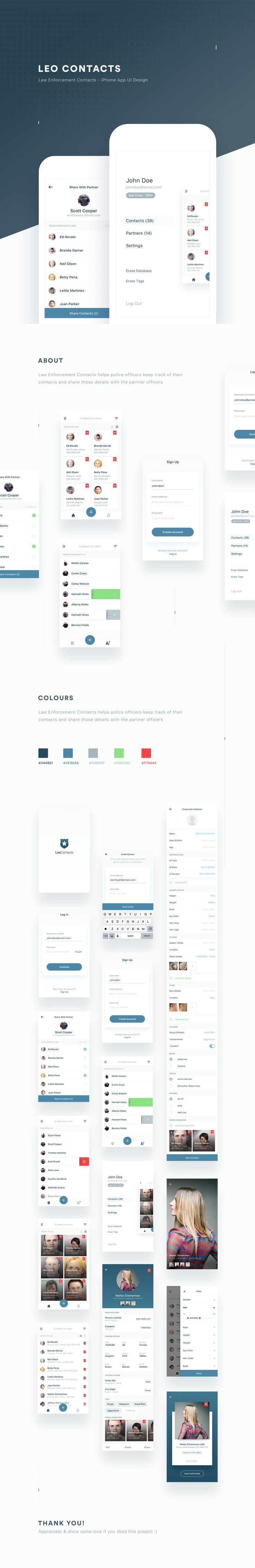 """Check out this @Behance project: """"LEO Contacts App UI Design"""" https://www.behance.net/gallery/52684257/LEO-Contacts-App-UI-Design"""