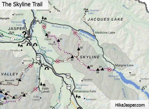 Jasper National Park Skyline Trail Hiking Map